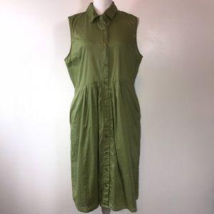 Isaac Mizrahi Live Green Button Down Midi Dress